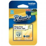 Fita M-231 p/ Rotulador Brother 12mm Preto/Branco